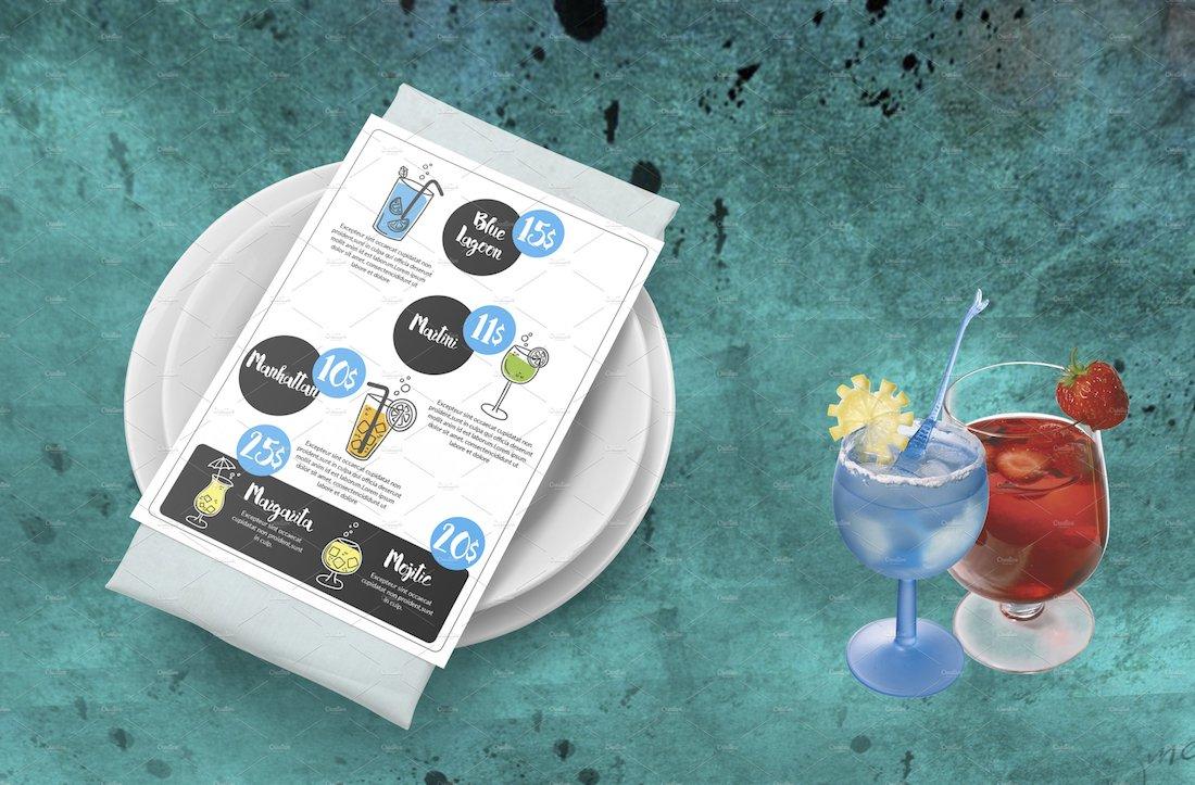 cocktail menu layout