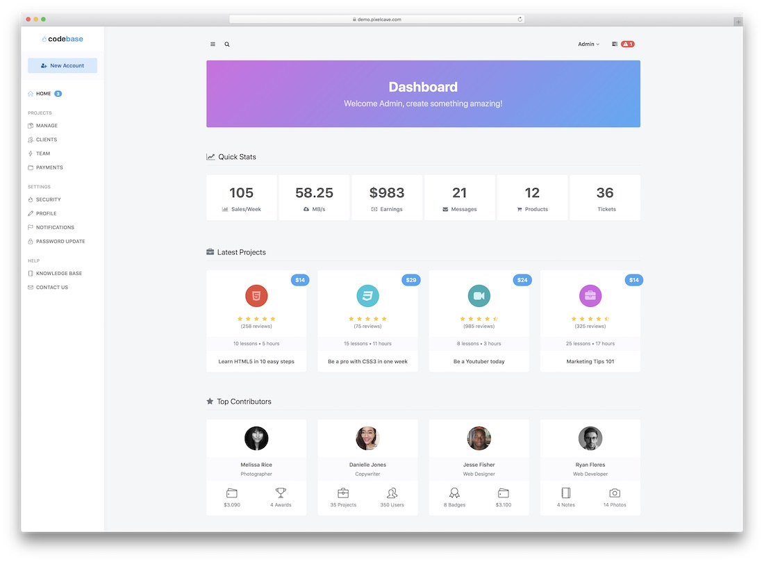 codebase admin template