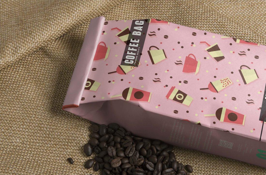 coffee bag label psd mockup