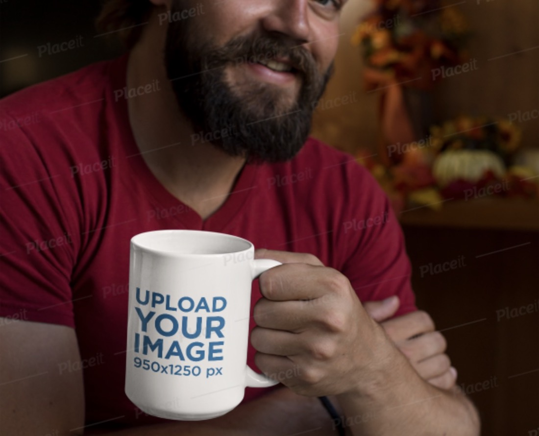 coffee cup mockup featuring a bearded man