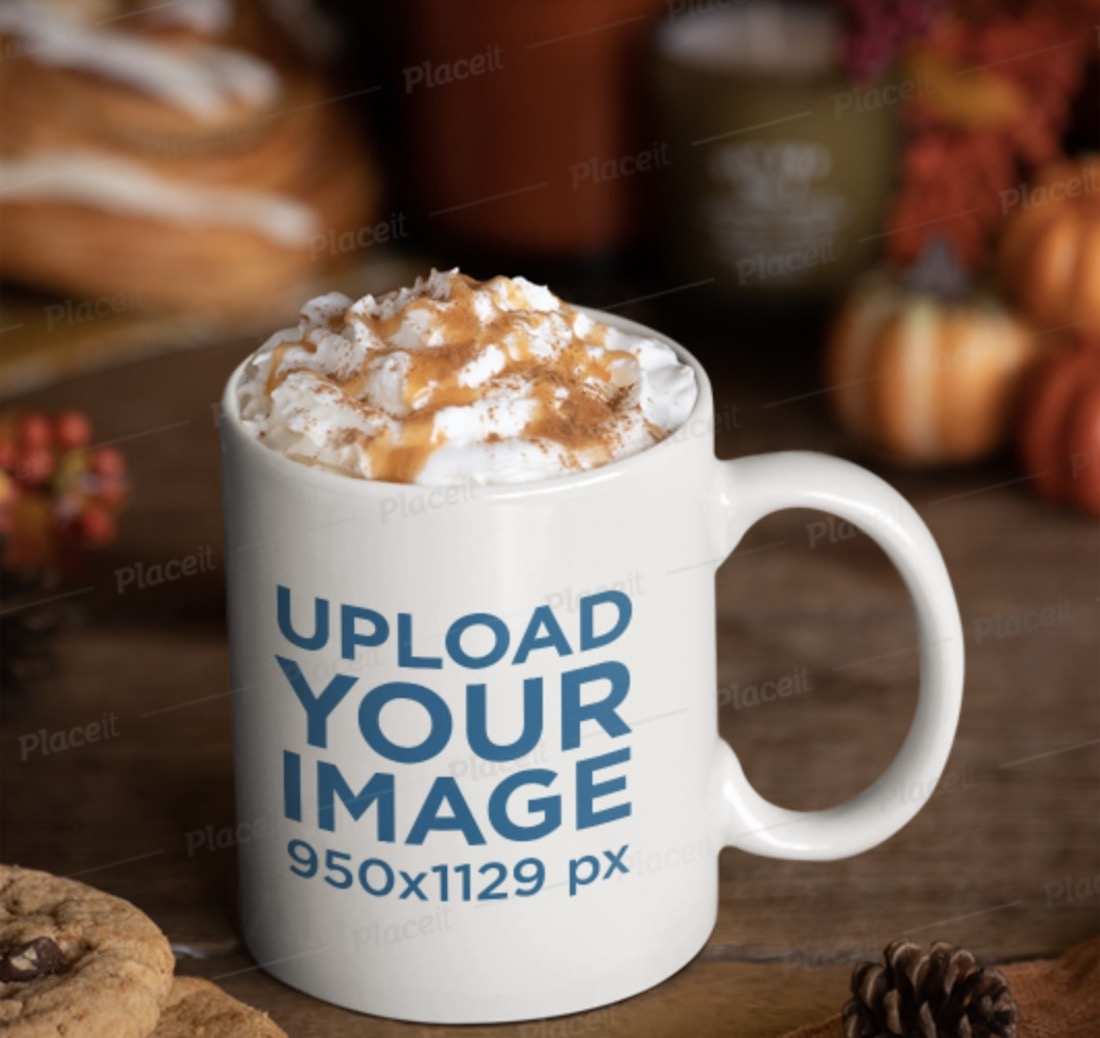 coffee cup mockup surrounded by thanksgiving decorations