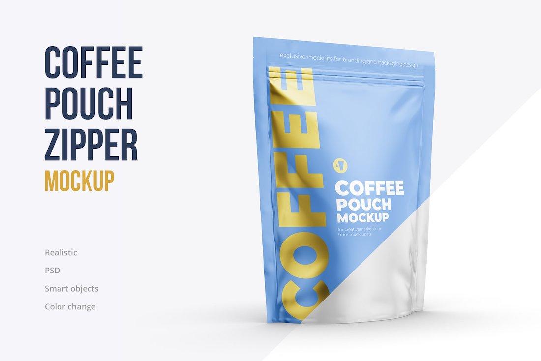coffee zipper pouch mockup
