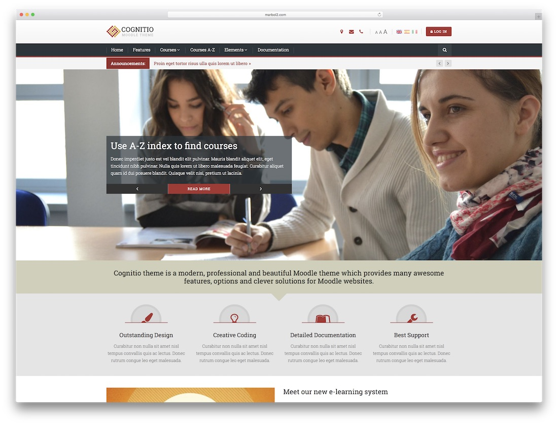 cognitio moodle bootstrap template