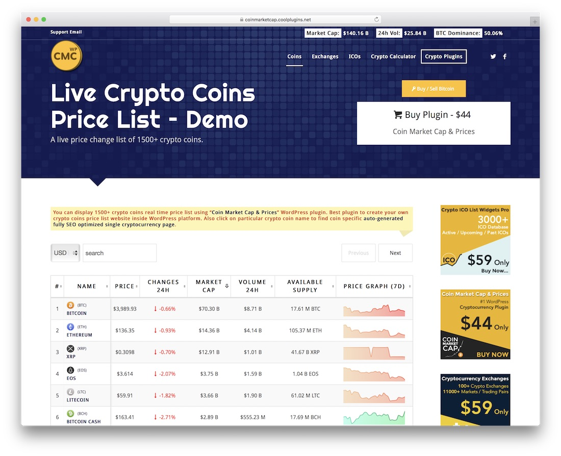 coin market cap and prices cryptocurrency wordpress plugin