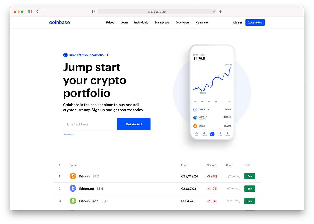 coinbase landing page
