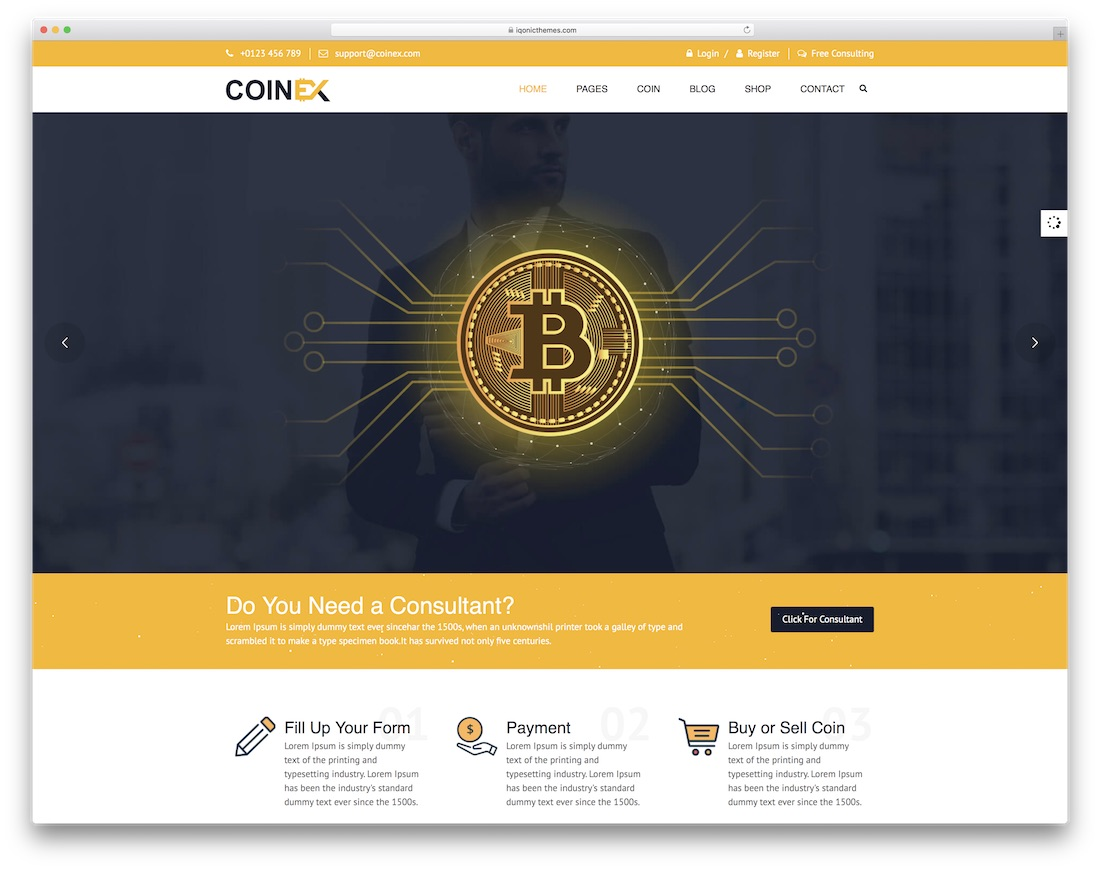 coinex interactive website template