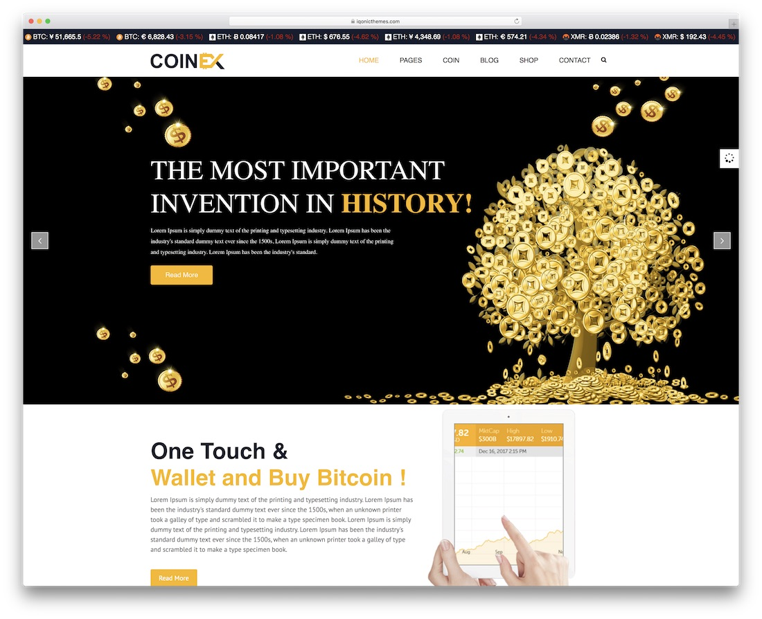coinex cryptocurrency bootstrap business website template