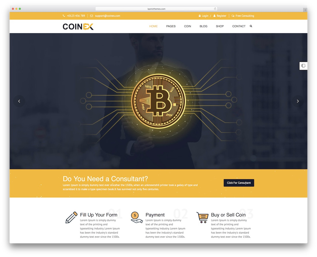 coinex financial website template