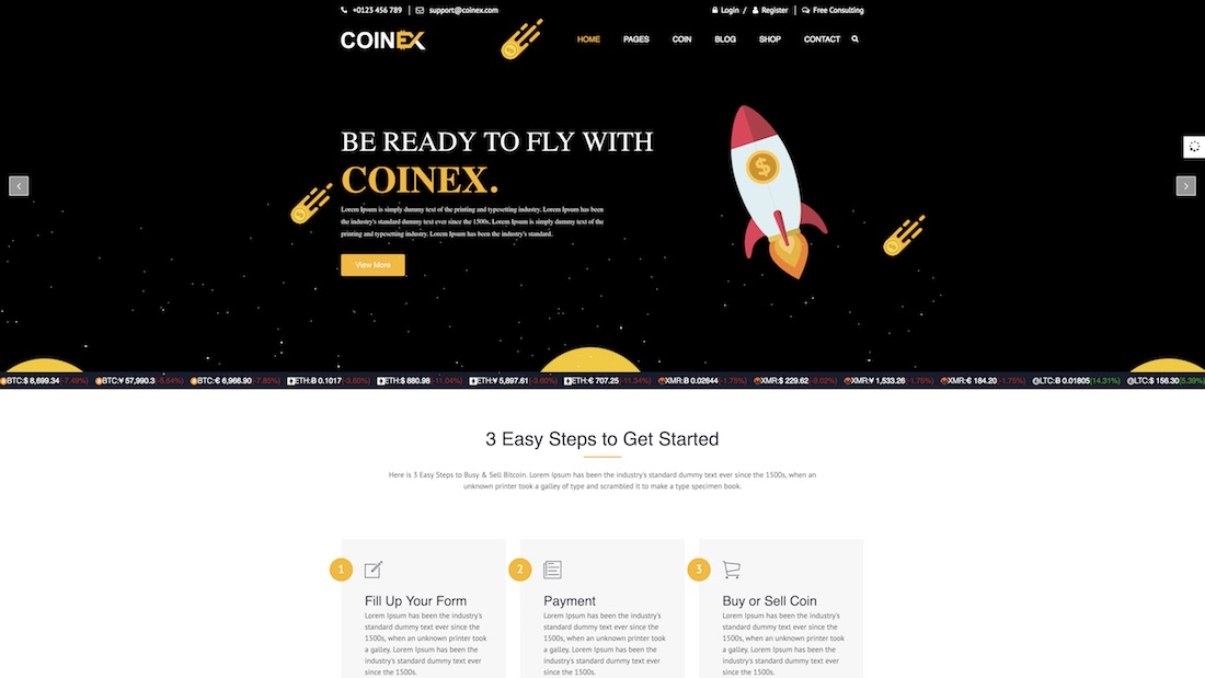 coinex mobile-friendly website template