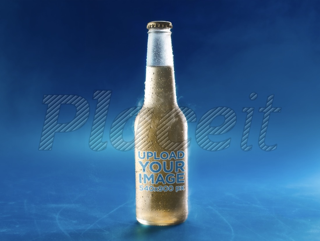 cold glass bottle of lager beer mockup
