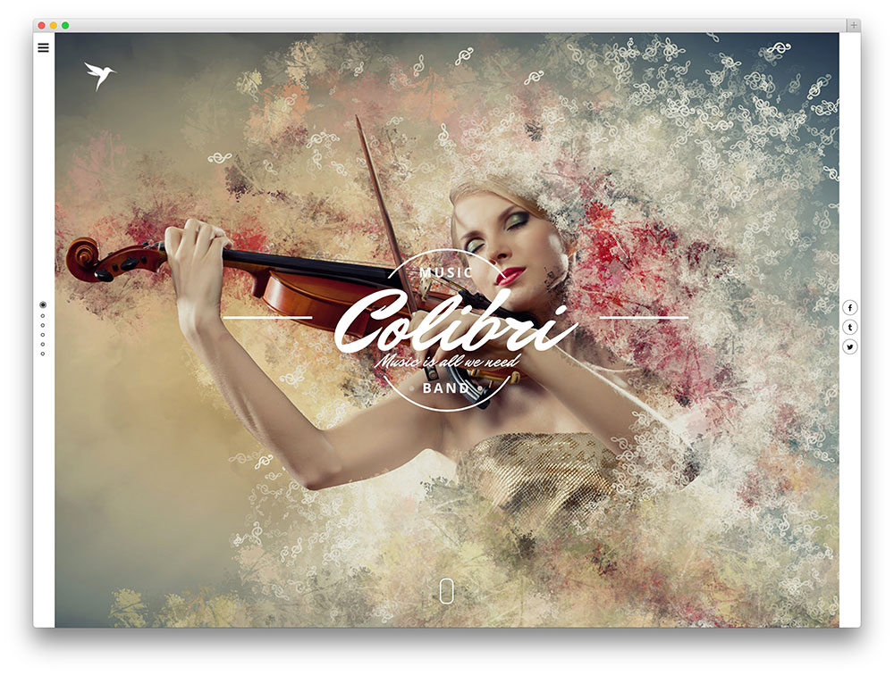 colibri fullscreen music theme