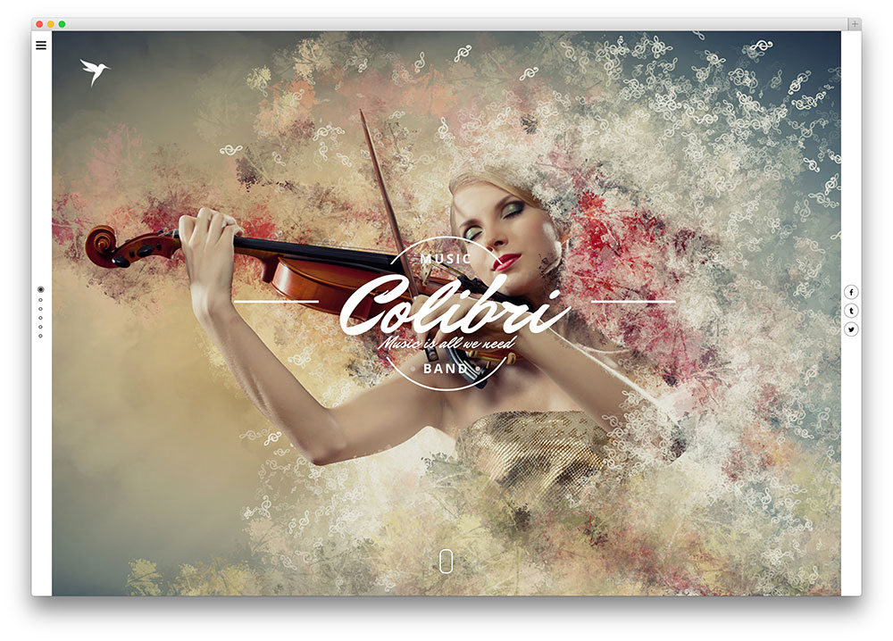 colibri - fullscreen music theme