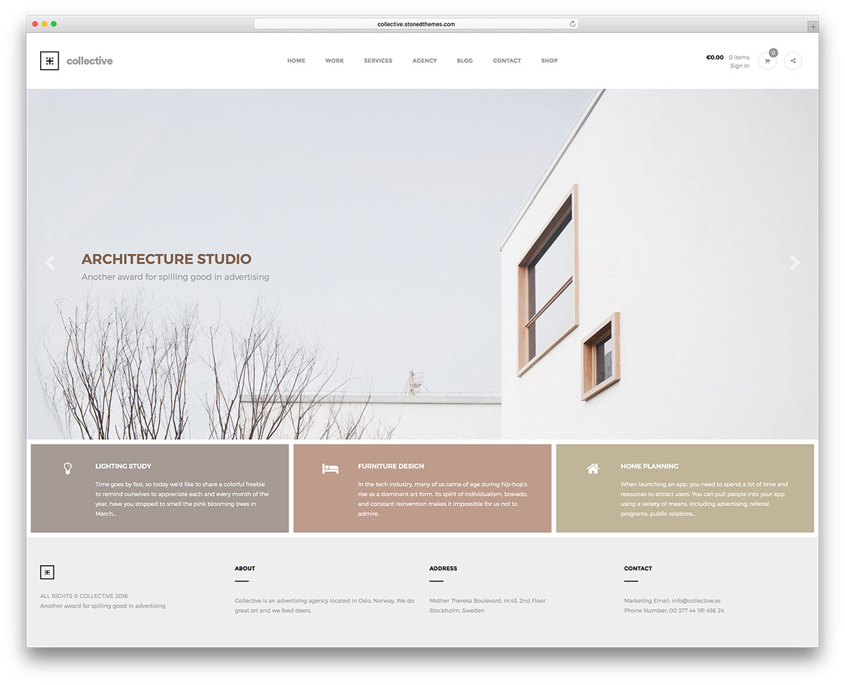 63 best clean wordpress themes 2018 colorlib for Architecture design websites free