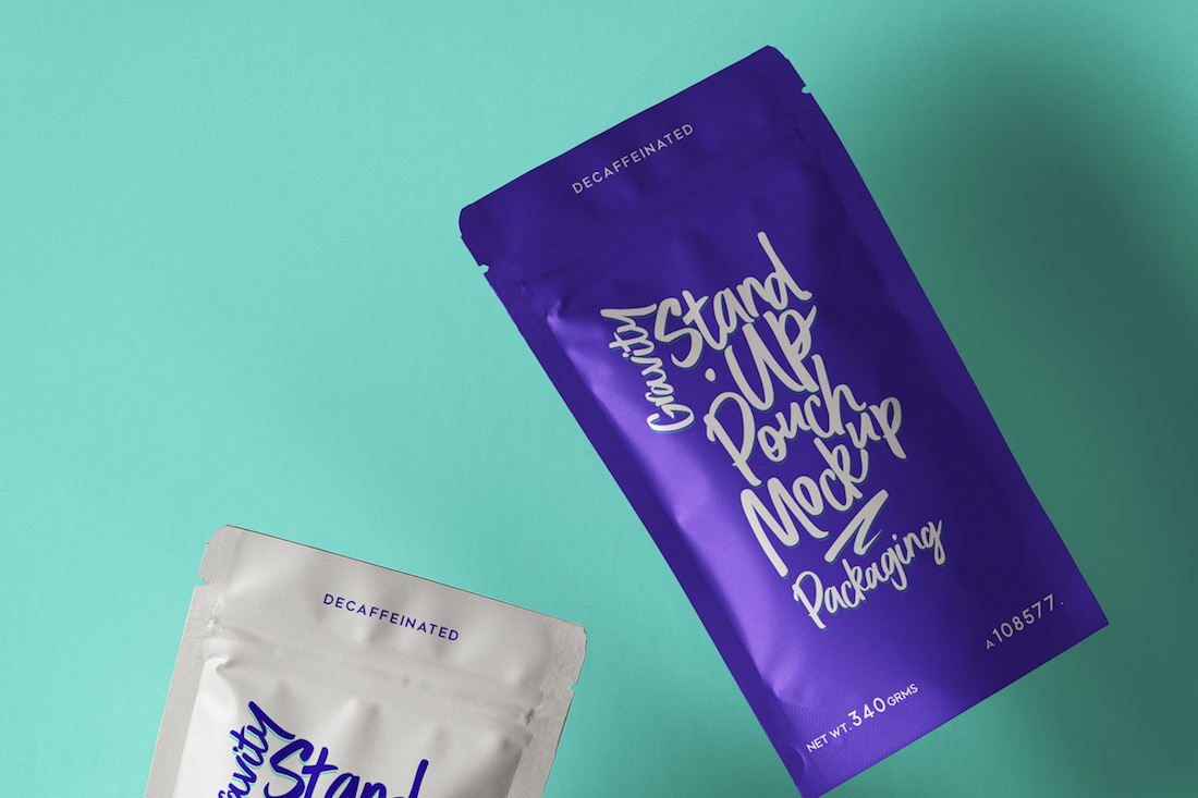 colorful pouch packaging psd mockup