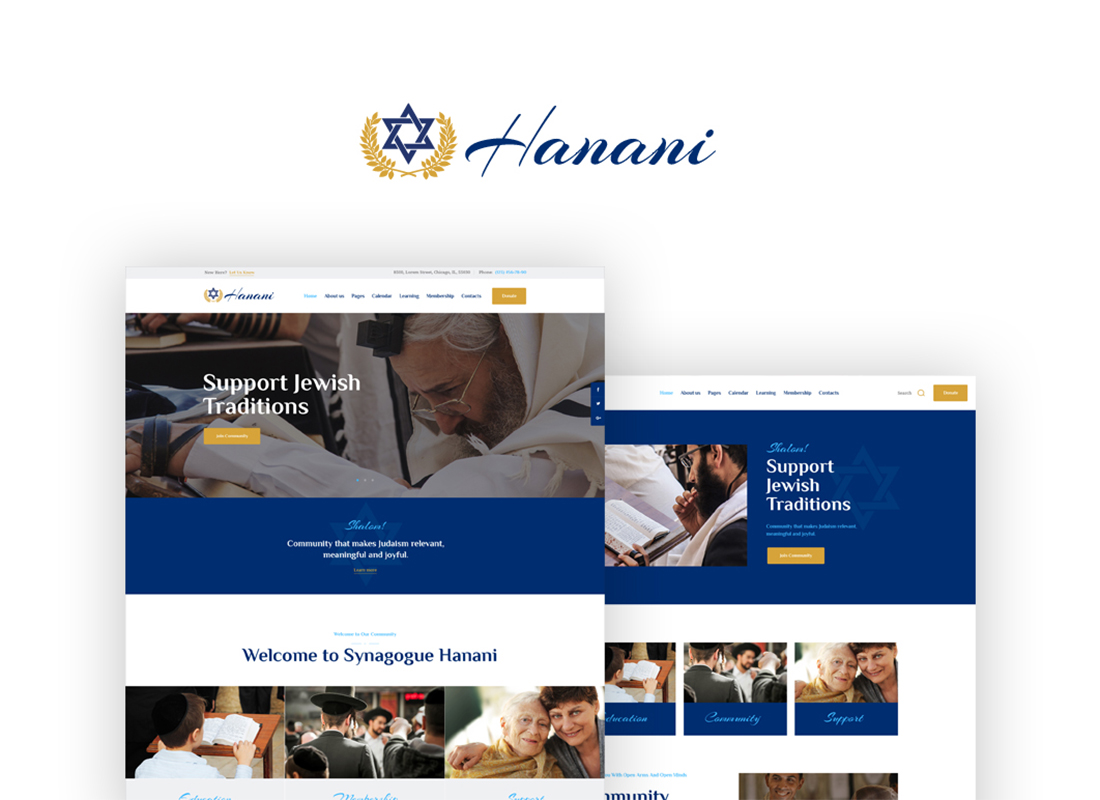 Hanani - Jewish Community & Synagogue WordPress Theme