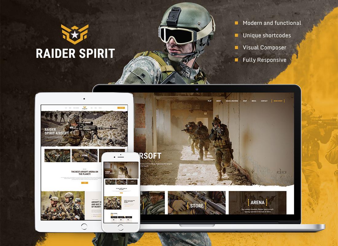 Raider Spirit  Airsoft Club & Paintball WordPress Theme