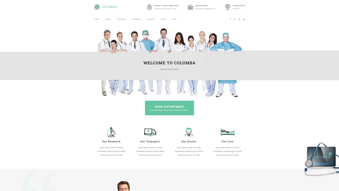 columba website template