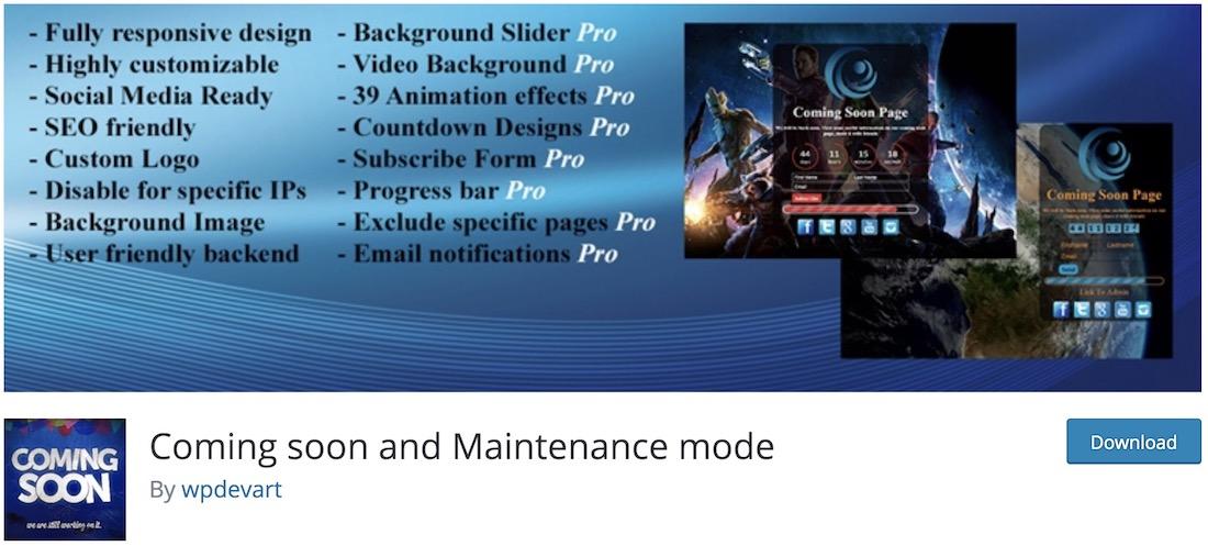coming soon and maintenance mode wordpress plugin