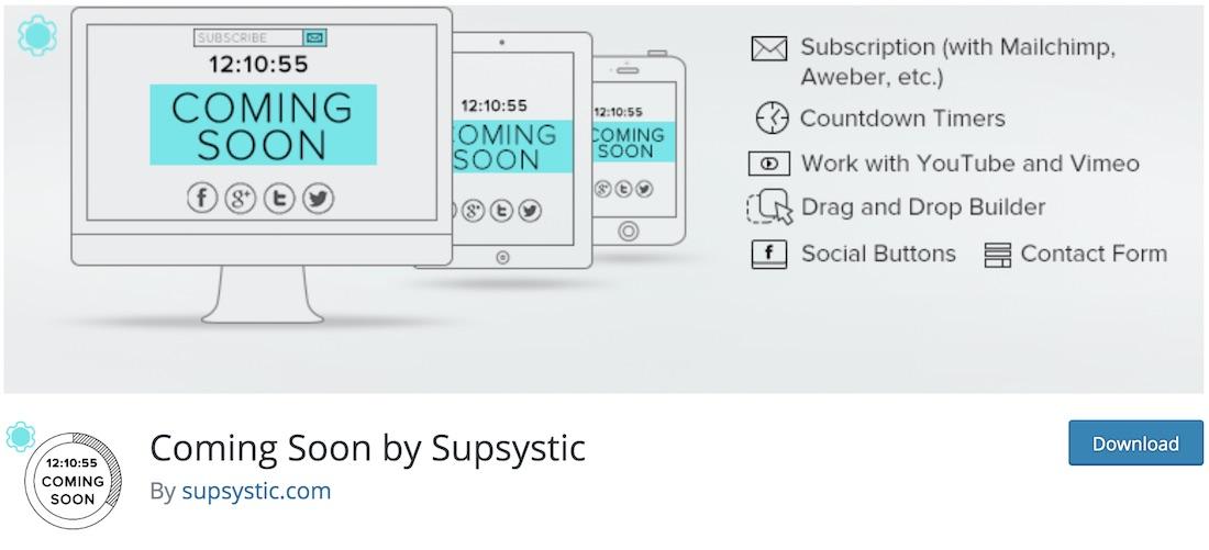 coming soon by supsystic wordpress maintenance plugin