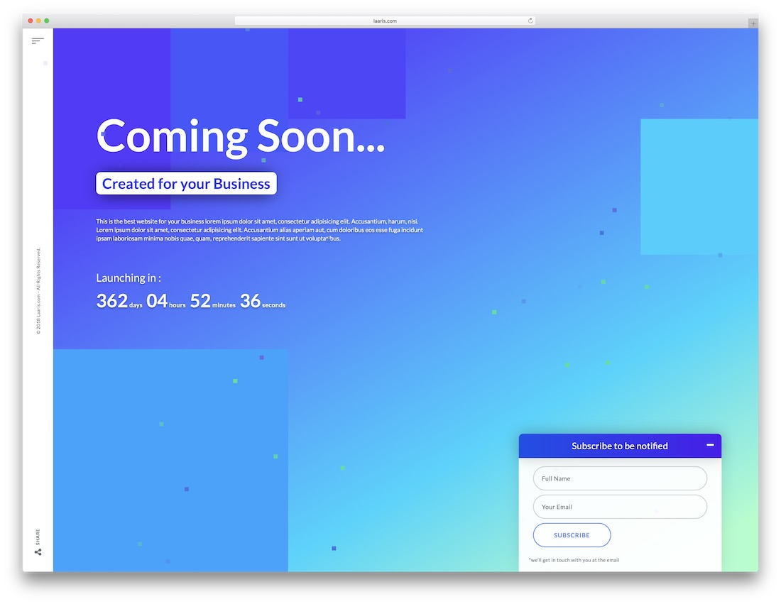 coming soon page website template