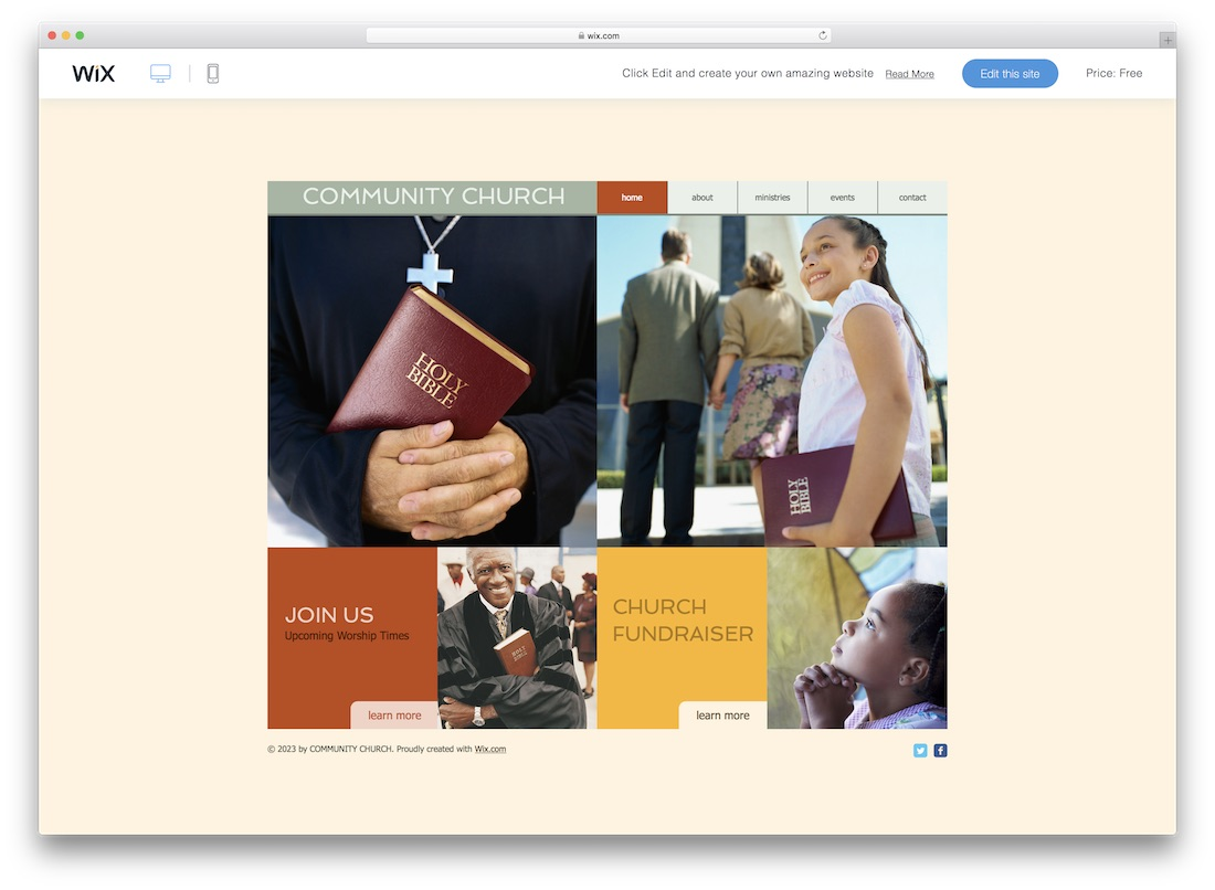 community church website template