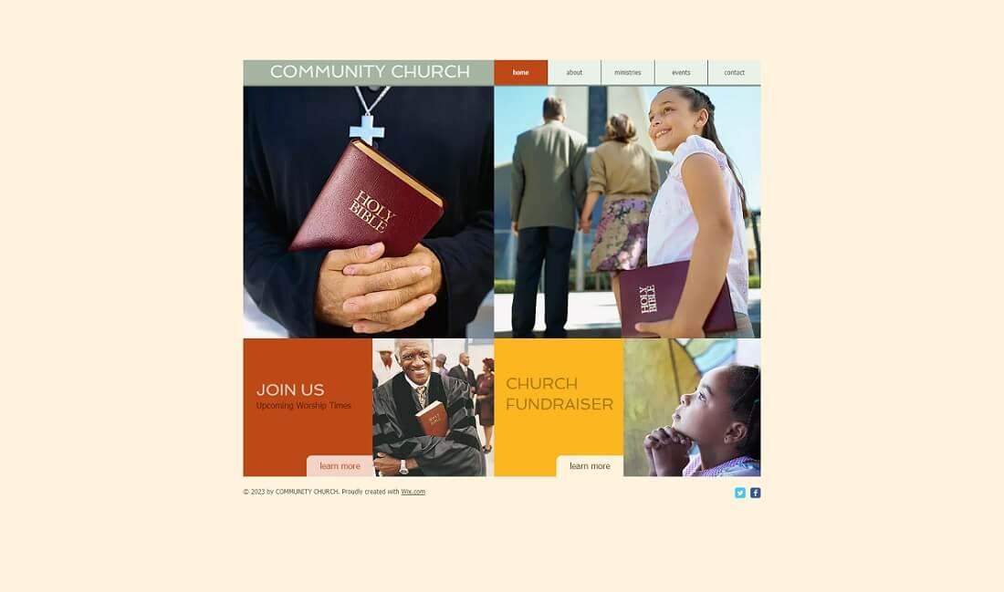 community free church website template