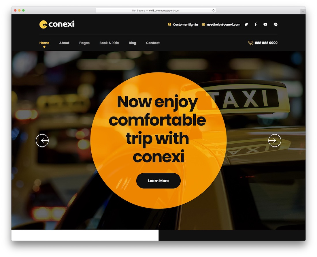 conexi car rental wordpress theme