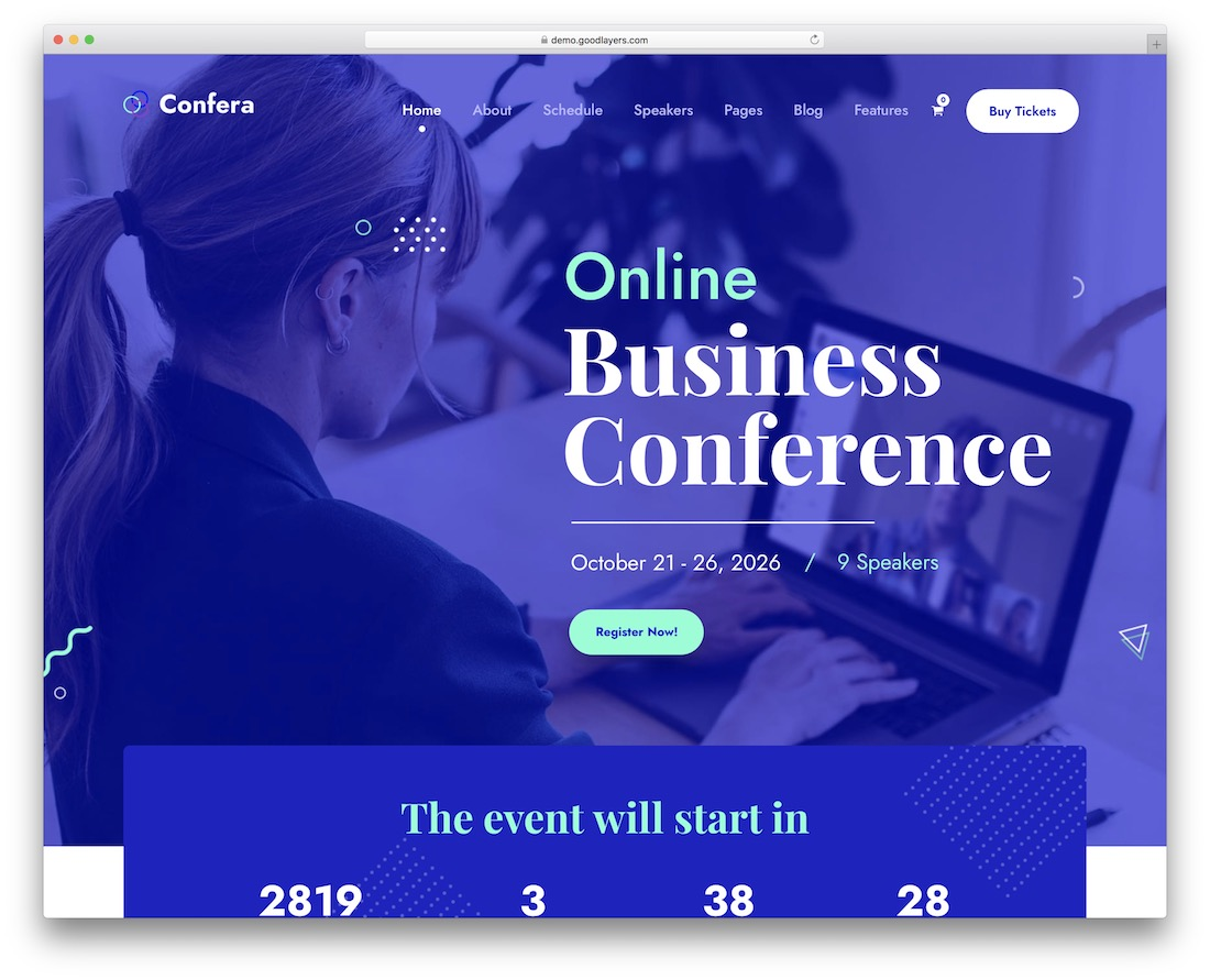 confera wordpress theme for conference and event
