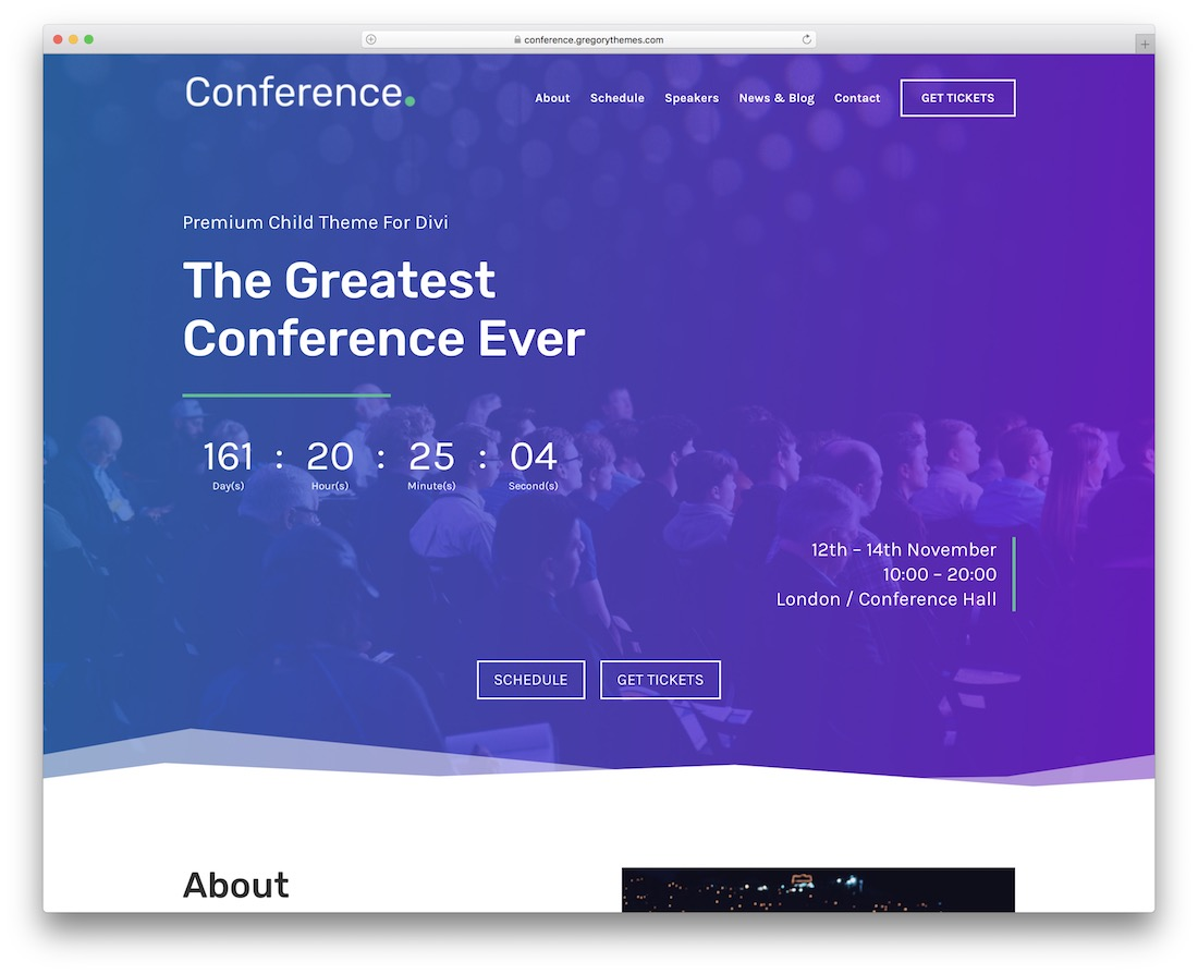 conference divi child theme