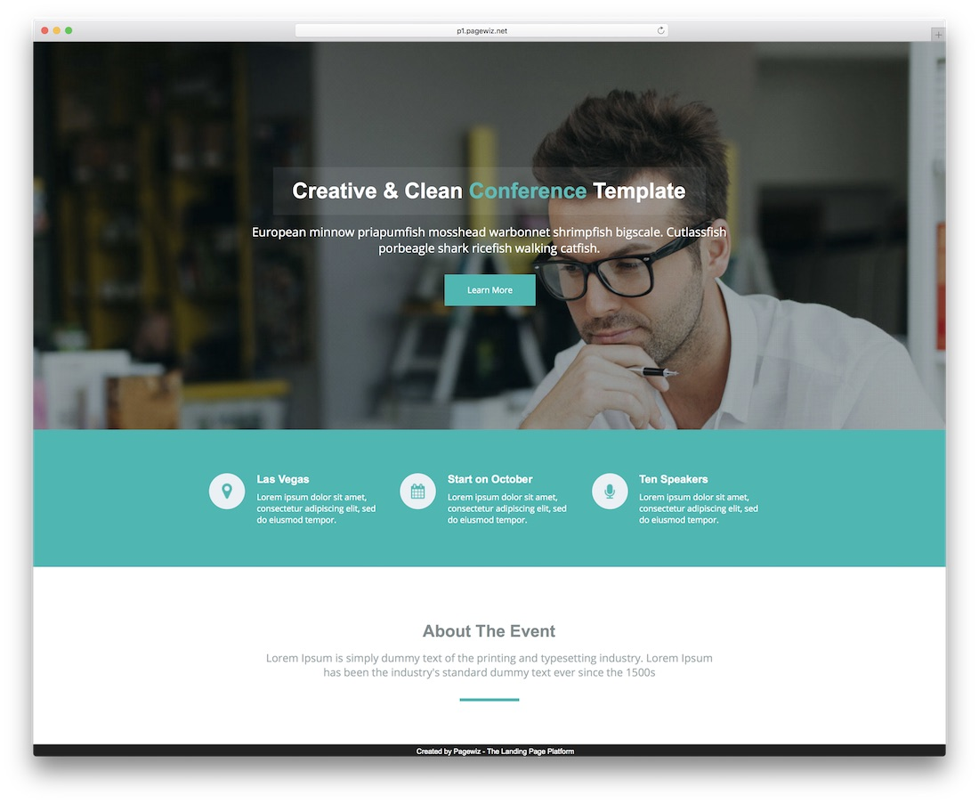 conference pagewiz landing page template