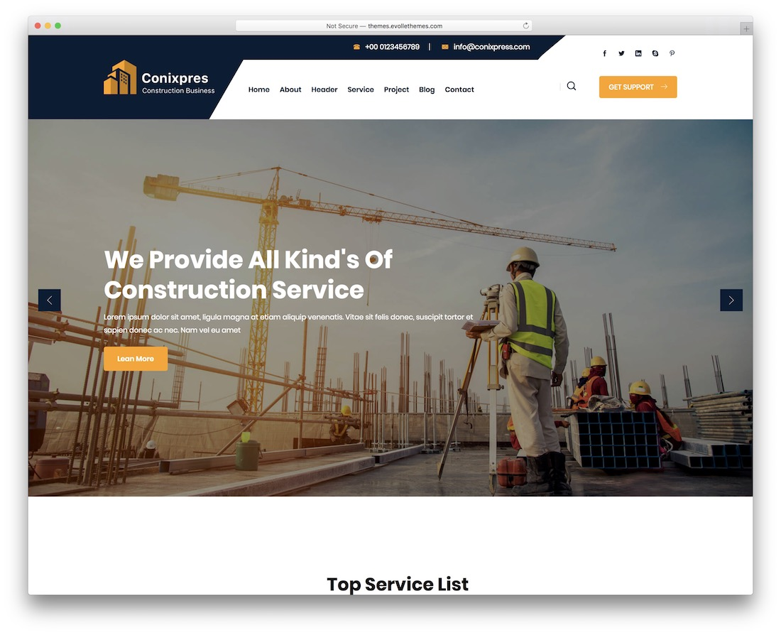 conixpres construction company template