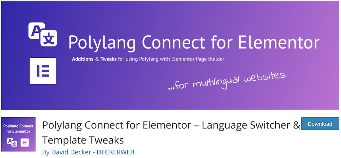 connect polylang elementor wordpress multilingual plugin