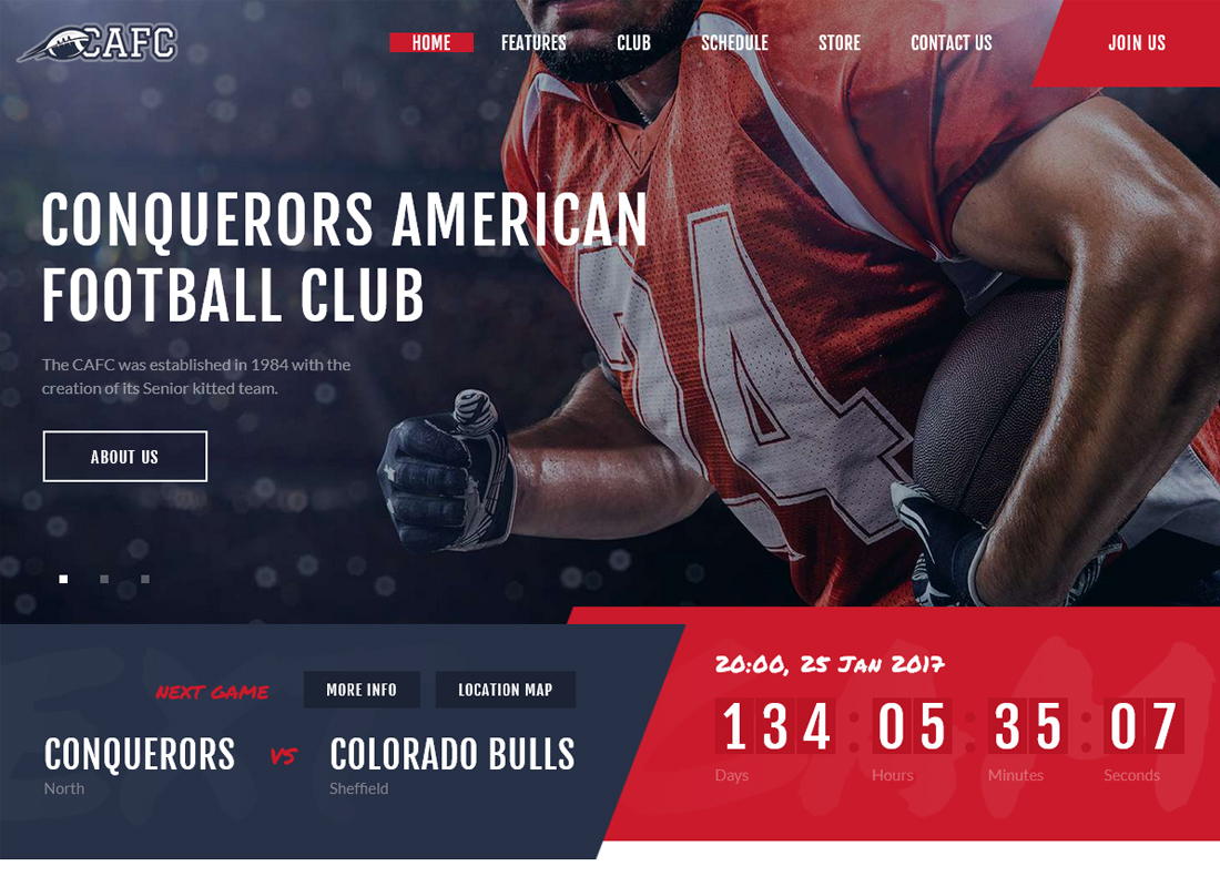 Conquerors - American Football Club WordPress Theme