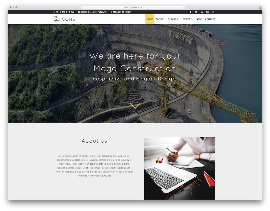 cons adobe muse template