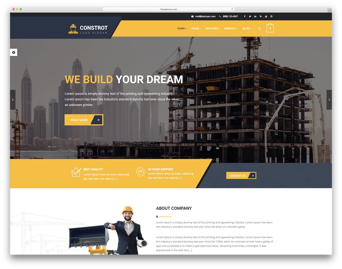 constrot html construction company template