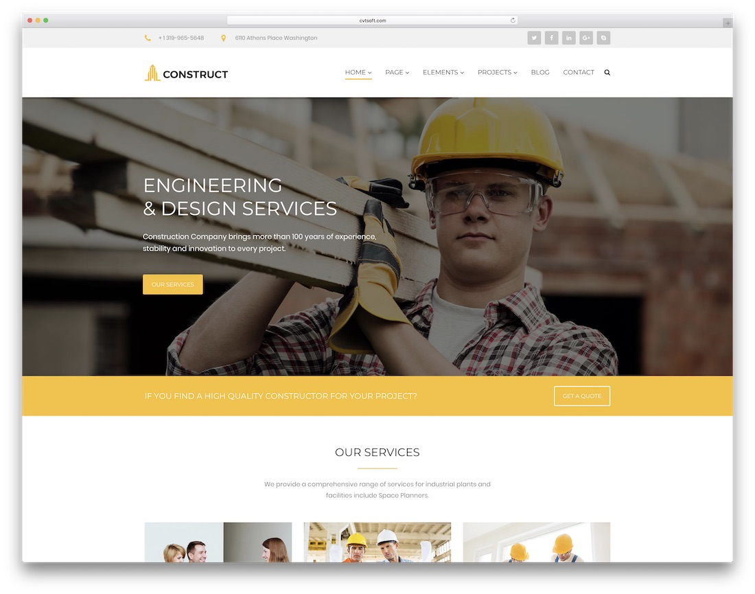 construct html construction company template