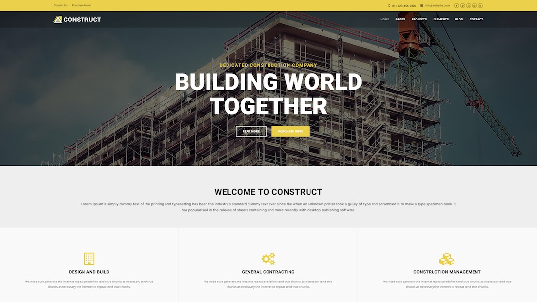 construct professional website template