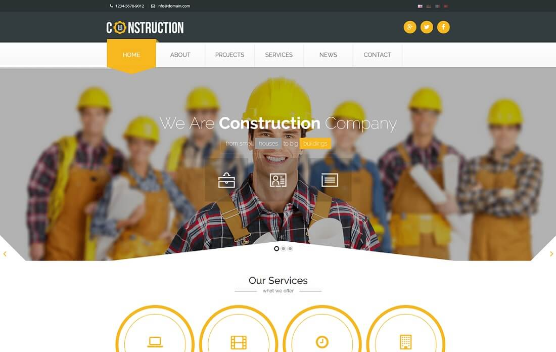 responsive HTML construction company template