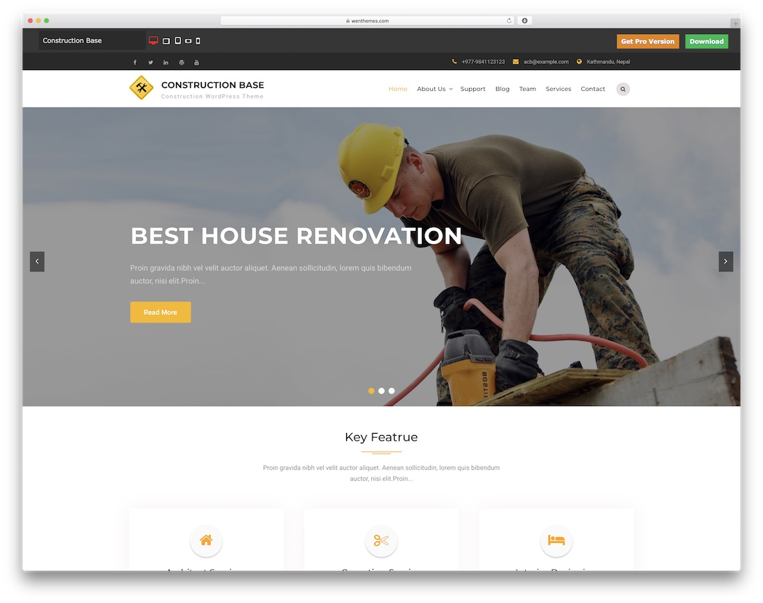 construction base free construction website template
