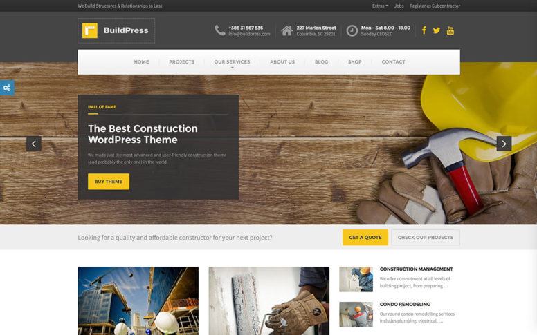 46 Professional & Responsive Construction Company WordPress Themes For Your Business 2018