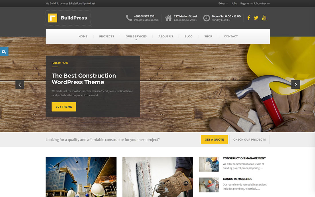 46 best construction company wordpress themes 2018 colorlib for Best home remodeling websites