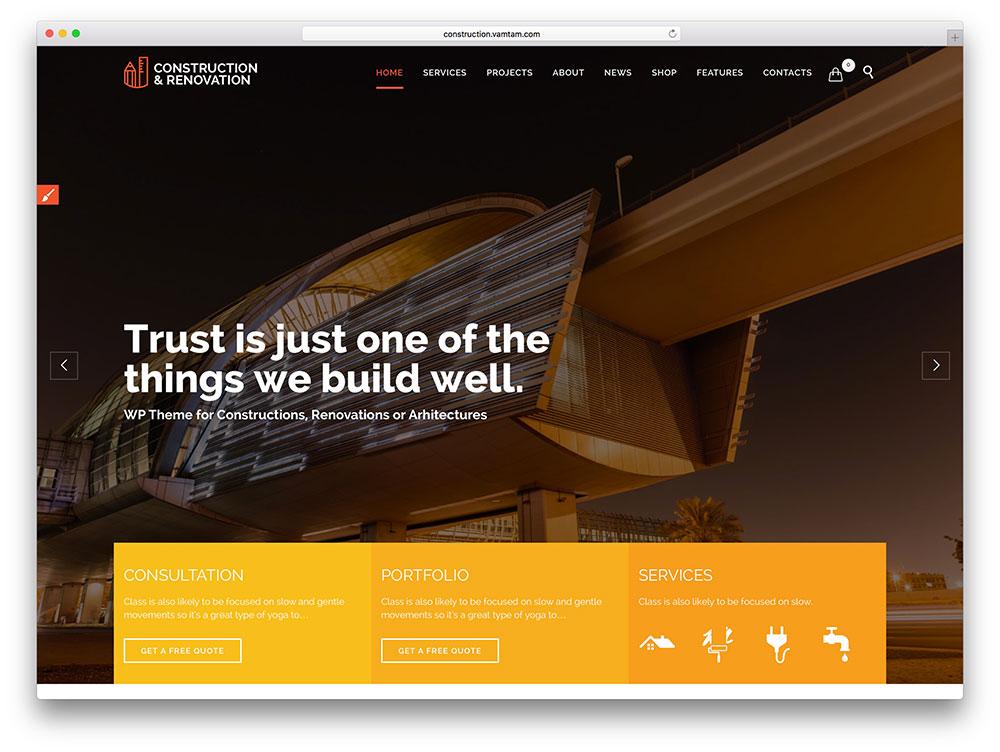 construction company wordpress template