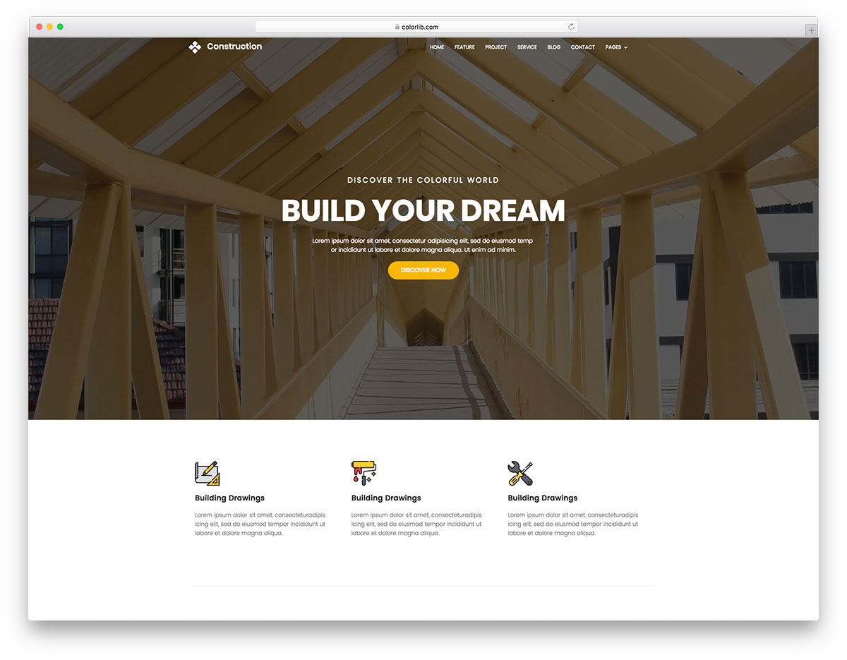 construction free website template