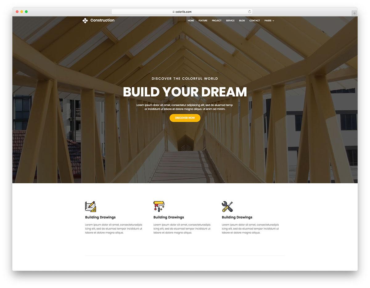Скачать бесплатно html шаблон Construction