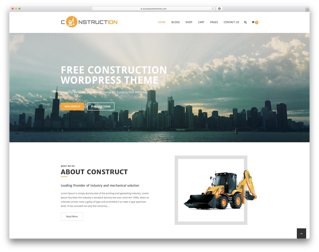 construction free construction website template