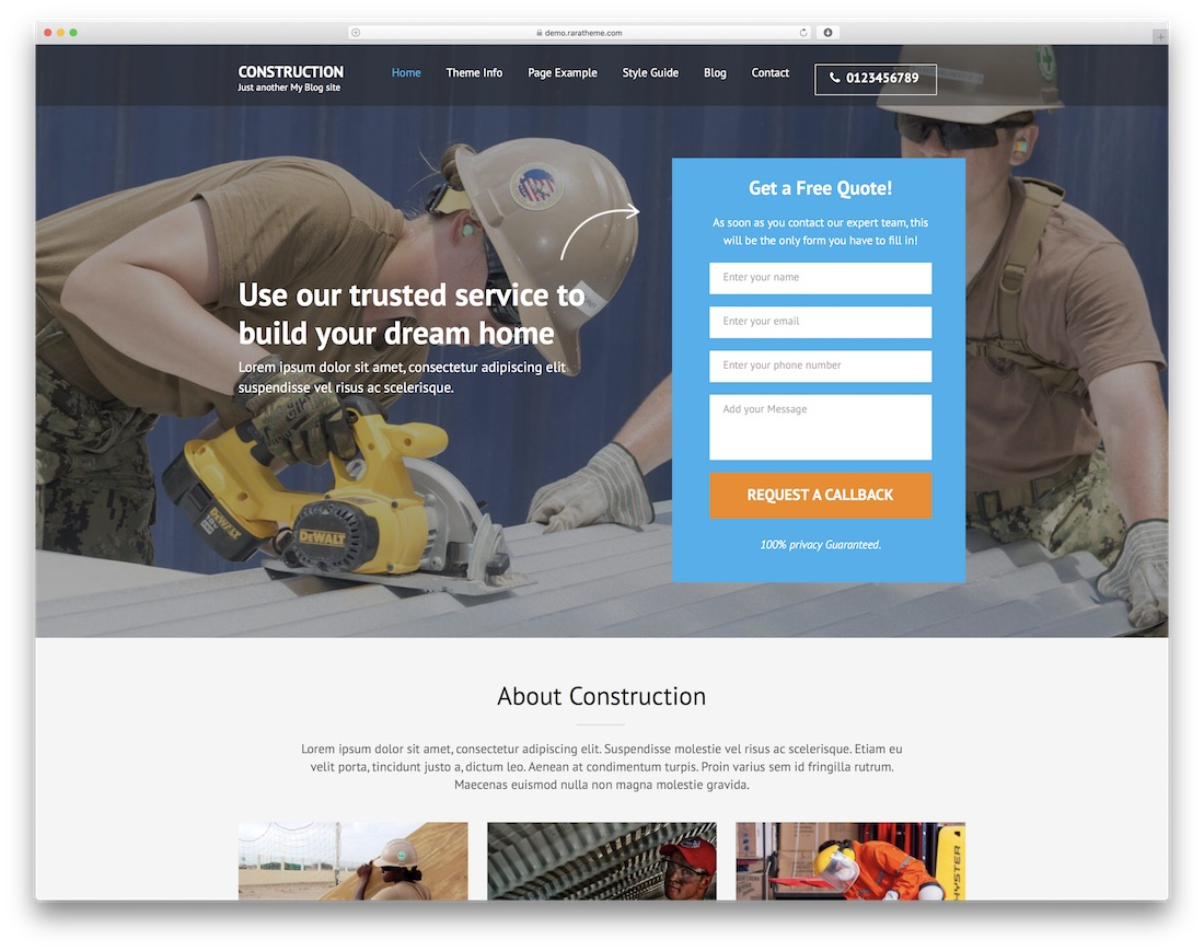construction landing page free construction website template