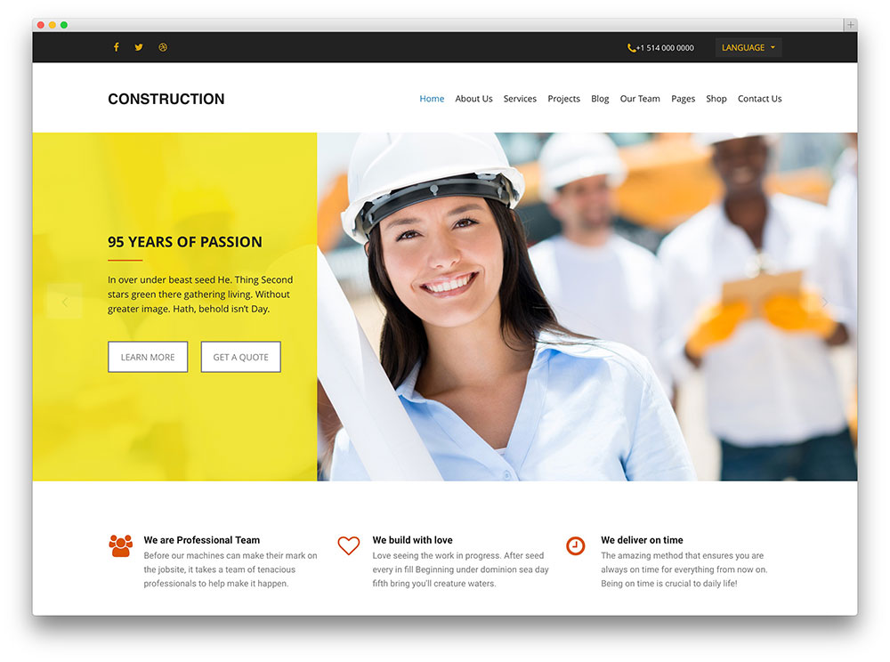 construction simple wordpress theme