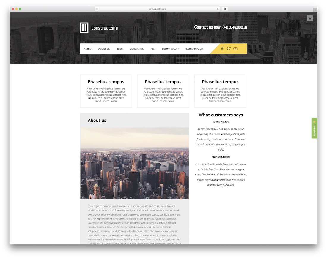 constructzine lite free construction website template