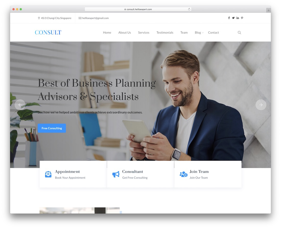 consult free wordpress business theme