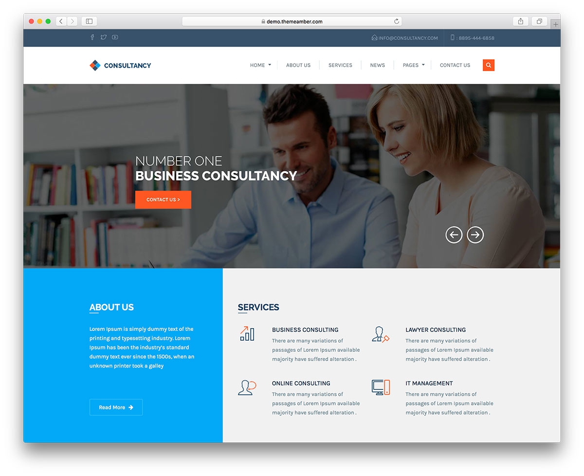 20 best business consulting wordpress themes 2018 colorlib for Best design consultancies